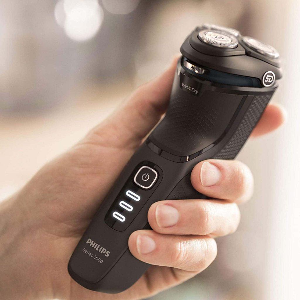 Philips Serie 3000 S3233 52 - Afeitadora eléctrica, cabezales pivotantes y flexibles 5D, cortapatillas desplegable para bigote y patillas, seco